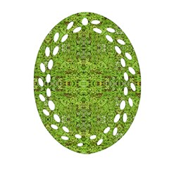 Digital Nature Collage Pattern Oval Filigree Ornament (two Sides)