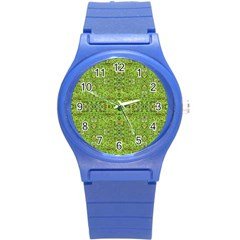 Digital Nature Collage Pattern Round Plastic Sport Watch (s)