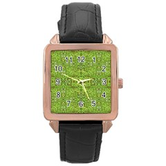 Digital Nature Collage Pattern Rose Gold Leather Watch