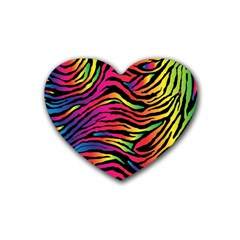 Rainbow Zebra Rubber Coaster (heart)