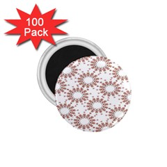 Pattern Flower Floral Star Circle Love Valentine Heart Pink Red Folk 1 75  Magnets (100 Pack)
