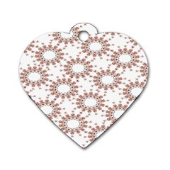 Pattern Flower Floral Star Circle Love Valentine Heart Pink Red Folk Dog Tag Heart (one Side)