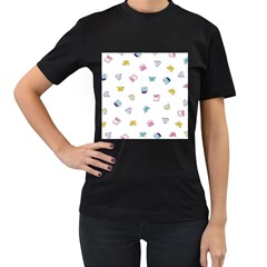 Tea Cup Mug Dringking Yellow Blue Grey Polka Dots Women s T Shirt (black) (two Sided)