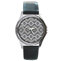 Triangle Wave Chevron Grey Sign Star Round Metal Watch