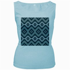 Triangle Wave Chevron Grey Sign Star Women s Baby Blue Tank Top
