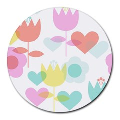Tulip Lotus Sunflower Flower Floral Staer Love Pink Red Blue Green Round Mousepads