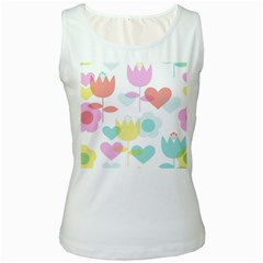 Tulip Lotus Sunflower Flower Floral Staer Love Pink Red Blue Green Women s White Tank Top