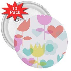 Tulip Lotus Sunflower Flower Floral Staer Love Pink Red Blue Green 3  Buttons (10 Pack)