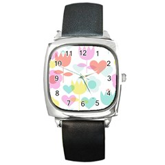 Tulip Lotus Sunflower Flower Floral Staer Love Pink Red Blue Green Square Metal Watch