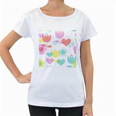 Tulip Lotus Sunflower Flower Floral Staer Love Pink Red Blue Green Women s Loose Fit T Shirt (white)