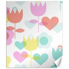 Tulip Lotus Sunflower Flower Floral Staer Love Pink Red Blue Green Canvas 8  X 10