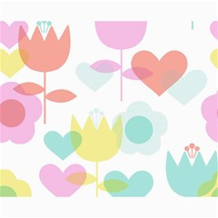 Tulip Lotus Sunflower Flower Floral Staer Love Pink Red Blue Green Canvas 16  X 20