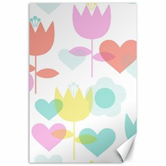 Tulip Lotus Sunflower Flower Floral Staer Love Pink Red Blue Green Canvas 24  X 36