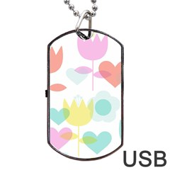 Tulip Lotus Sunflower Flower Floral Staer Love Pink Red Blue Green Dog Tag Usb Flash (two Sides)