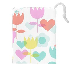 Tulip Lotus Sunflower Flower Floral Staer Love Pink Red Blue Green Drawstring Pouches (xxl)