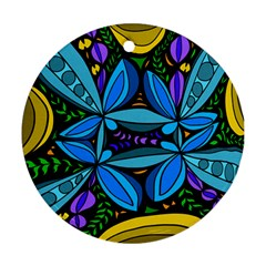 Star Polka Natural Blue Yellow Flower Floral Ornament (round)