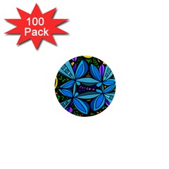 Star Polka Natural Blue Yellow Flower Floral 1  Mini Magnets (100 Pack)