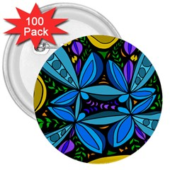 Star Polka Natural Blue Yellow Flower Floral 3  Buttons (100 Pack)