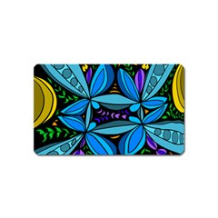 Star Polka Natural Blue Yellow Flower Floral Magnet (name Card)