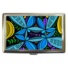 Star Polka Natural Blue Yellow Flower Floral Cigarette Money Cases