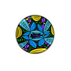 Star Polka Natural Blue Yellow Flower Floral Hat Clip Ball Marker