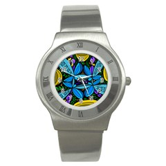 Star Polka Natural Blue Yellow Flower Floral Stainless Steel Watch