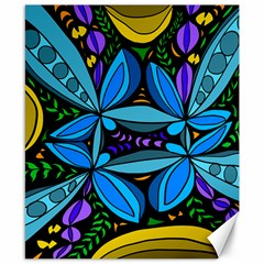 Star Polka Natural Blue Yellow Flower Floral Canvas 8  X 10