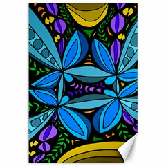 Star Polka Natural Blue Yellow Flower Floral Canvas 12  X 18