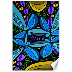 Star Polka Natural Blue Yellow Flower Floral Canvas 20  X 30