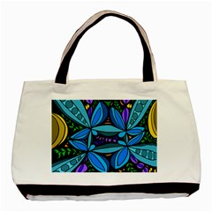 Star Polka Natural Blue Yellow Flower Floral Basic Tote Bag (two Sides)