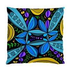 Star Polka Natural Blue Yellow Flower Floral Standard Cushion Case (two Sides)