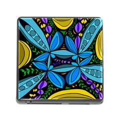 Star Polka Natural Blue Yellow Flower Floral Memory Card Reader (square)