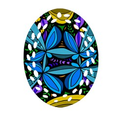 Star Polka Natural Blue Yellow Flower Floral Oval Filigree Ornament (two Sides)
