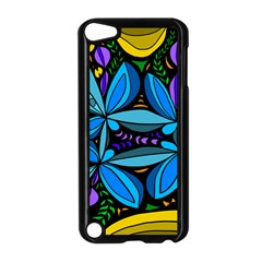 Star Polka Natural Blue Yellow Flower Floral Apple Ipod Touch 5 Case (black)