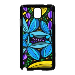 Star Polka Natural Blue Yellow Flower Floral Samsung Galaxy Note 3 Neo Hardshell Case (black)