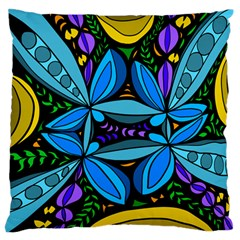 Star Polka Natural Blue Yellow Flower Floral Large Flano Cushion Case (one Side)