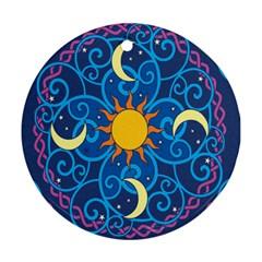 Sun Moon Star Space Vector Clipart Ornament (round)