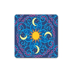 Sun Moon Star Space Vector Clipart Square Magnet