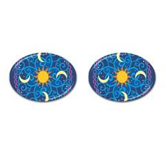 Sun Moon Star Space Vector Clipart Cufflinks (oval)