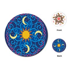 Sun Moon Star Space Vector Clipart Playing Cards (round)