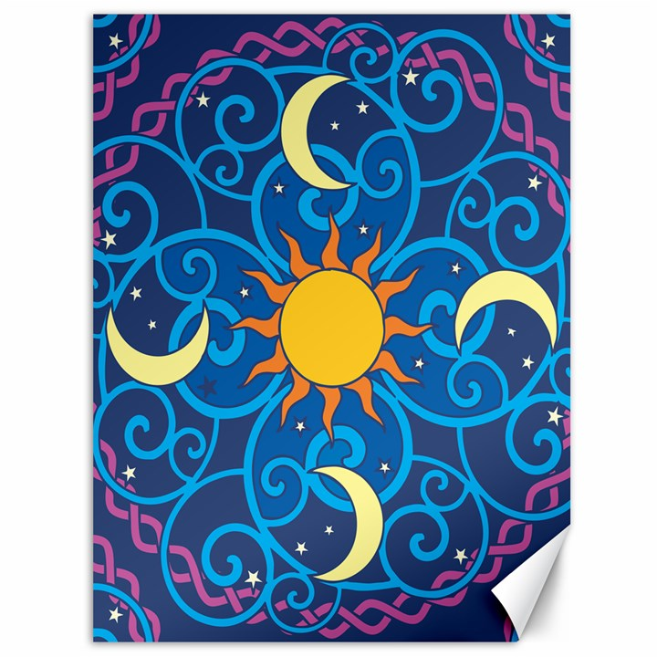 Sun Moon Star Space Vector Clipart Canvas 36  x 48