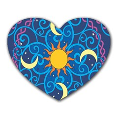 Sun Moon Star Space Vector Clipart Heart Mousepads