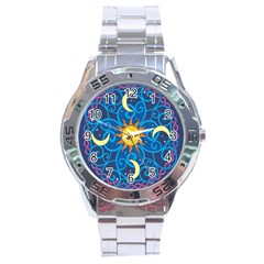 Sun Moon Star Space Vector Clipart Stainless Steel Analogue Watch