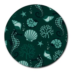 Vector Seamless Pattern With Sea Fauna Seaworld Round Mousepads