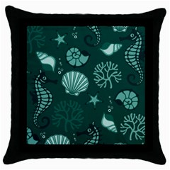 Vector Seamless Pattern With Sea Fauna Seaworld Throw Pillow Case (black)