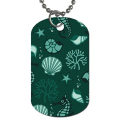 Vector Seamless Pattern With Sea Fauna Seaworld Dog Tag (one Side)
