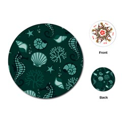 Vector Seamless Pattern With Sea Fauna Seaworld Playing Cards (round)