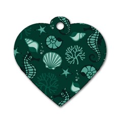 Vector Seamless Pattern With Sea Fauna Seaworld Dog Tag Heart (two Sides)