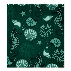 Vector Seamless Pattern With Sea Fauna Seaworld Shower Curtain 66  X 72  (large)