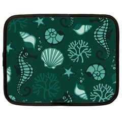Vector Seamless Pattern With Sea Fauna Seaworld Netbook Case (xl)